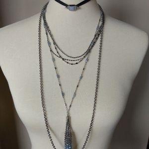 Multi-wear silver necklace